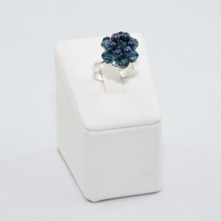 Inel cu cristale si perle SWAROVSKI ELEMENTS - night blue