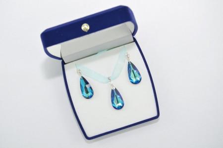Teardrop Pendant, Crystal Bermuda Blue, 24 mm