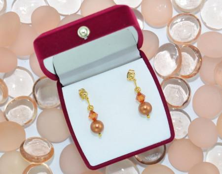 Cercei cu perle si cristale SWAROVSKI ELEMENTS