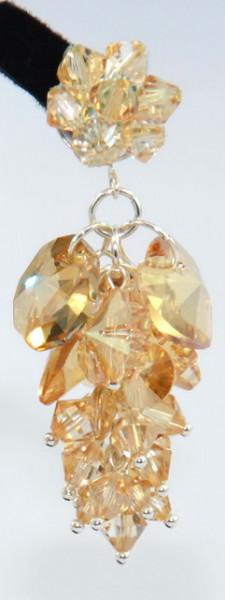 Cercei pe surub cu cristale SWAROVSKI ELEMENTS - golden shadow - 60 mm