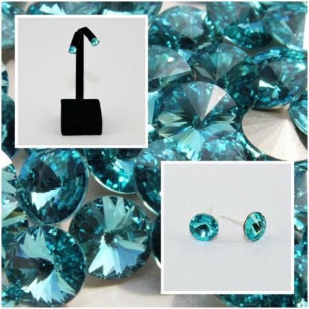 Cercei surub cu cristale SWAROVSKI ELEMENTS - Light Turquoise