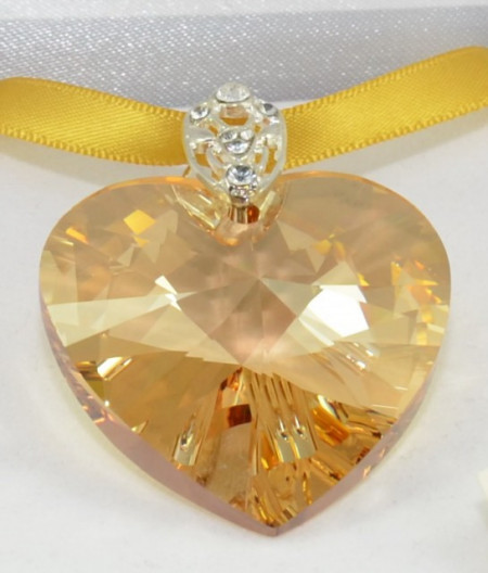 Heart Pendant, Crystal Golden Shadow, 40 mm