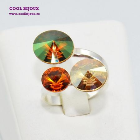 Inel cu 3 cristale SWAROVSKI ELEMENTS - Mix Copper