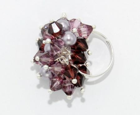 Inel cu cristale biconice si perle - 6mm - Light Amethyst