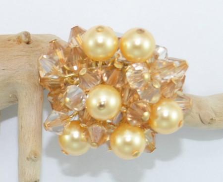 Inel cu cristale biconice si perle - Gold