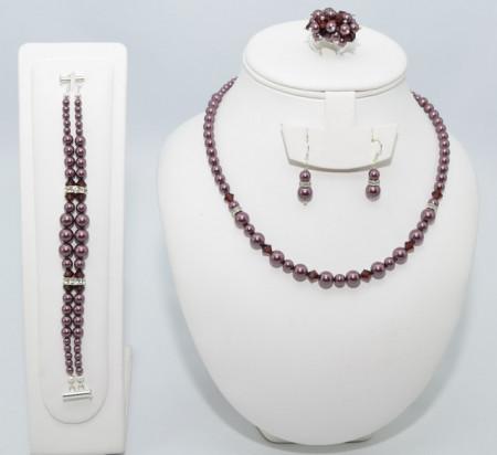 Set bijuterii cu cristale si perle SWAROVSKI ELEMENTS - burgundy