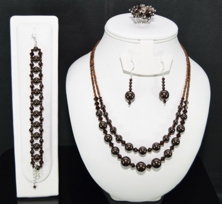 Set bijuterii cu cristale si perle SWAROVSKI ELEMENTS - deep brown