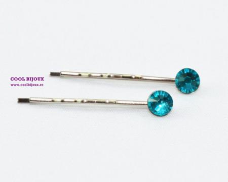Agrafe de par cu cristale SWAROVSKI ELEMENTS - blue zircon