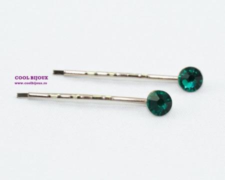 Agrafe de par cu cristale SWAROVSKI ELEMENTS - emerald