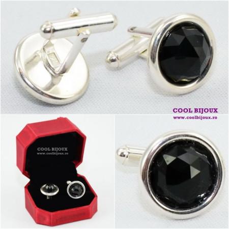 Butoni din argint cu cristale SWAROVSKI ELEMENTS - Jet