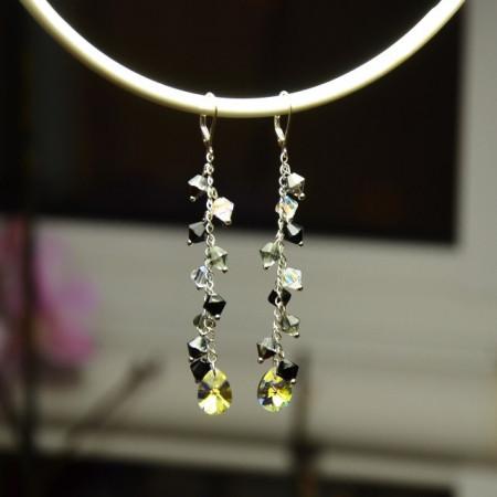 Cercei cu cristale SWAROVSKI ELEMENTS - Mix Black & white -  80 mm