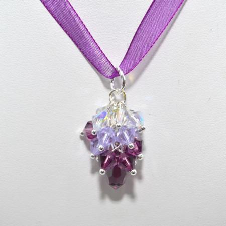 Cercei si pandantiv DROP cu cristale SWAROVSKI ELEMENTS - violet