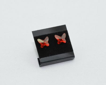Cercei surub cu cristale SWAROVSKI ELEMENTS - Butterfly, red magma