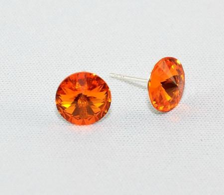 Cercei surub cu cristale SWAROVSKI ELEMENTS - Tangerine