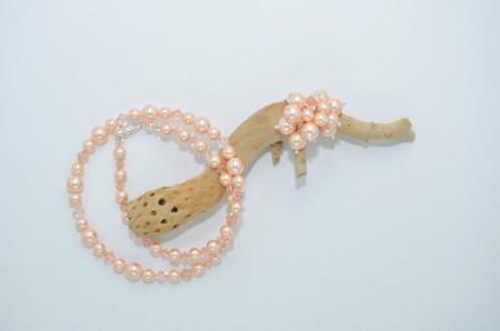 Inel cu cristale si perle - 6 & 8 mm - Peach
