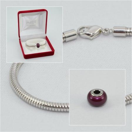SWAROVSKI charm & bracelet - blackberry pearl