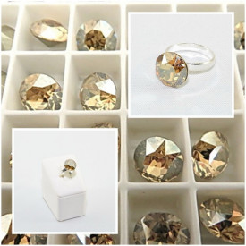 Inel cu cristal SWAROVSKI ELEMENTS - Golden Shadow