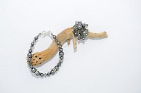Inel cu cristale biconice si perle - 6mm - Black Diamond