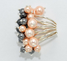 Inel cu perle - 6 & 8 mm - Dark Grey & Peach