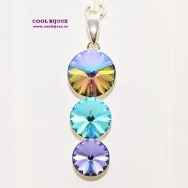 Pandantiv argint cu 3 cristale SWAROVSKI ELEMENTS - Paradise
