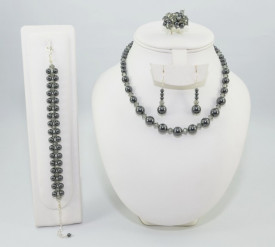 Set bijuterii cu cristale si perle SWAROVSKI ELEMENTS - black pearl