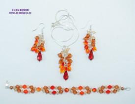 Set bijuterii cu cristale SWAROVSKI ELEMENTS - fire opal