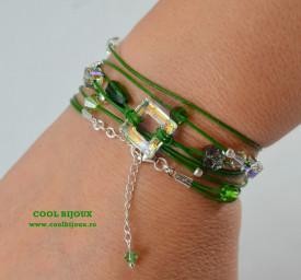 Bratara din piele cu cristale SWAROVSKI ELEMENTS - verde