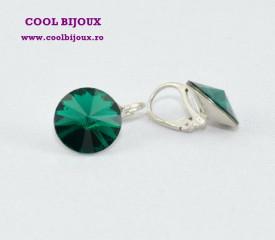 Cercei cu cristale SWAROVSKI ELEMENTS - Emerald