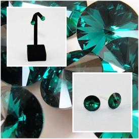 Cercei surub cu cristale SWAROVSKI ELEMENTS - Emerald