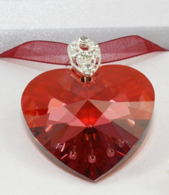 Heart Pendant, Crystal Red Magma, 40 mm