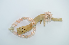 Inel cu cristale biconice si perle - 6mm - Crystal Light Peach