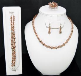 Set bijuterii cu cristale si perle SWAROVSKI ELEMENTS - bronze