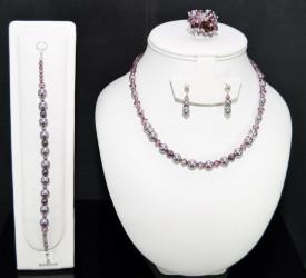 Set bijuterii cu cristale si perle SWAROVSKI ELEMENTS - mauve