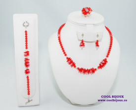 Set bijuterii cu cristale SWAROVSKI ELEMENTS - light siam