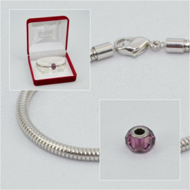 SWAROVSKI charm & bracelet - amethyst