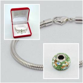 SWAROVSKI charm & bracelet - green
