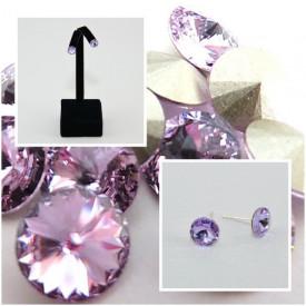 Cercei surub cu cristale SWAROVSKI ELEMENTS - Violet