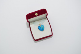 Heart Pendant, Crystal Bermuda Blue, 18 mm