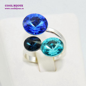 Inel cu 3 cristale SWAROVSKI ELEMENTS - Mix Sapphire Blue