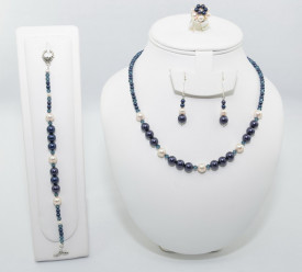 Set bijuterii cu cristale si perle SWAROVSKI ELEMENTS - night blue & cream rose