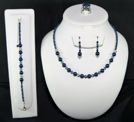 Set bijuterii cu cristale si perle SWAROVSKI ELEMENTS - night blue & montana