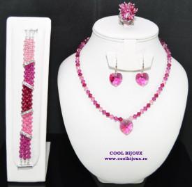 Set bijuterii cu cristale SWAROVSKI ELEMENTS - fuchsia