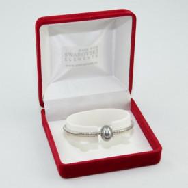SWAROVSKI charm & bracelet - grey pearl