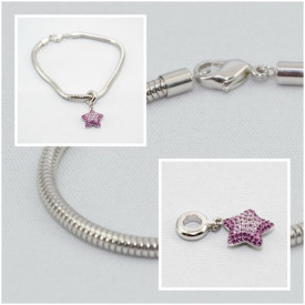 BeCharmed Pave Star Charm & Bracelet - Amethyst/Light Amethyst