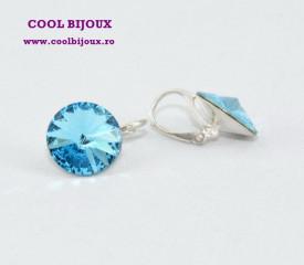 Cercei cu cristale SWAROVSKI ELEMENTS - Aquamarine