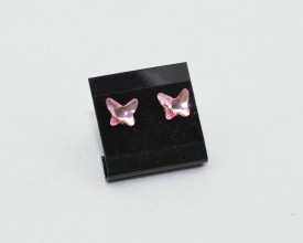 Cercei surub cu cristale SWAROVSKI ELEMENTS - Butterfly, light rose
