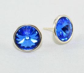Cercei surub cu cristale SWAROVSKI ELEMENTS - Sapphire