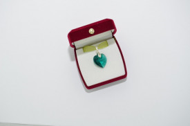 Heart Pendant, Crystal Emerald, 18 mm