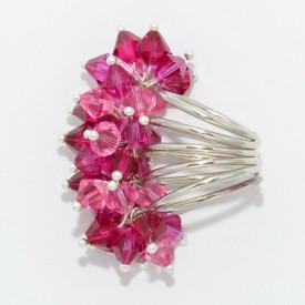 Inel cu cristale biconice - 6mm - Fuchsia