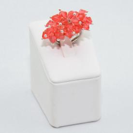 Inel cu cristale biconice - 6mm - Padparadscha